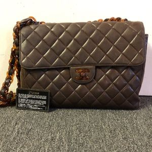 Vintage CHANEL brown lambskin quilted bag